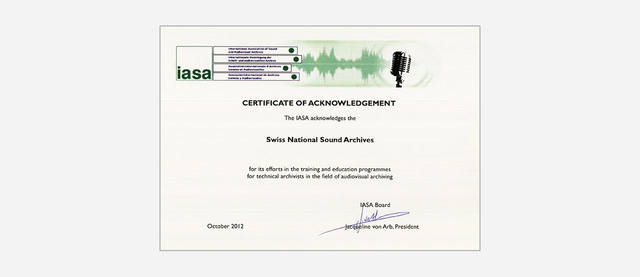Certificate of Acknowledgement IASA