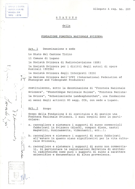Original bylaw of the Swiss National Sound Archives